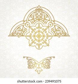 Vector floral vignette in Eastern style. Ornate element for design, place for text. Ornamental vintage illustration for wedding invitations, greeting cards. Traditional golden decor.