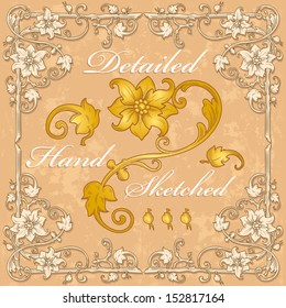 vector floral vintage frame and border