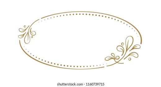 Vector floral vintage oval frame on a white background.