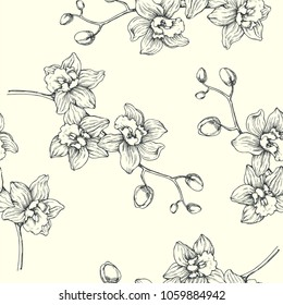 Vector floral vintage seamless pattern. Hand drawn botanical texture with orchid branch. Engraved tropical flowers isolated on white background