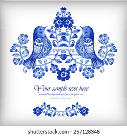 Vector floral watercolor background with blue flowers and birds