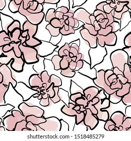 Vector floral watercolor seamless pattern. Black and white background with outline hand drawn rose flowers. Design concept for fabric design, textile print, wrapping paper or web backgrounds.