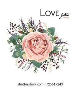 Vector floral watercolor style card design: Lavender antique pink powder garden Rose Eucalyptus seeded greenery, thyme agonis purple leaf berry bouquet element. Vector invite, poster lovely copy space