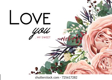 Vector floral watercolor style card design: Lavender antique pink garden Rose Eucalyptus greenery, thyme agonis colorful leaf berry frame border. Vector bohemian vintage wedding invite & love you text