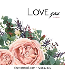 Vector floral watercolor style card design: Lavender antique pink garden Rose Eucalyptus greenery, thyme, agonis colorful leaf, berry frame, border. Vector bohemian vintage wedding invite & copy space
