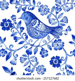 Vector floral watercolor texture pattern with blue flowers and birds.Watercolor floral pattern.Blue flowers pattern.Seamless pattern can be used for wallpaper,pattern fills,web page background