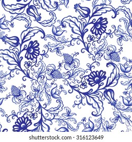 Vector floral watercolor texture pattern with blue flowers and Strawberry.Seamless pattern can be used for wallpaper,pattern fills,web page background,surface textures