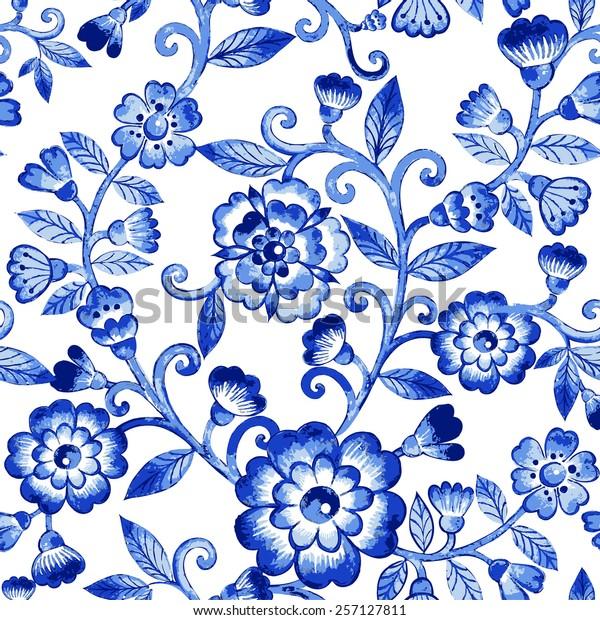294b0597c1d7 Vector floral watercolor texture pattern with blue flowers.Watercolor floral  pattern.Blue flowers pattern
