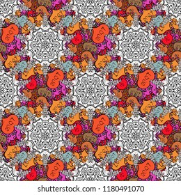 Vector floral wedding decorative elements. Seamless pattern mehndi floral lace of buta decoration items on white, black and orange colors.
