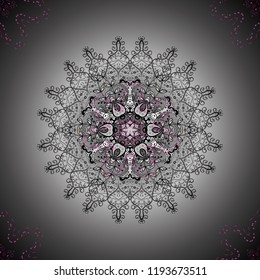 Vector floral wedding decorative elements. Seamless pattern mehndi floral lace of buta decoration items on gray, neutral and black colors.