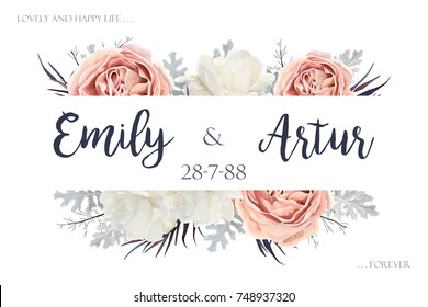 Vector floral wedding invitation invite, save the date card design with Flower Bouquet of Peach, white Rose Peony, dusty miller silver leaves border, frame. Elegant, tender template. Editable elements