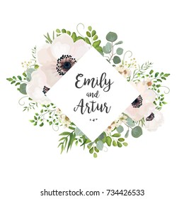 Vector floral wedding invite card design: Eucalyptus silver dollar branch greenery, foliage natural leaves rhombus frame in watercolor style. Vector decorative rustic invitation postcard elegant cute