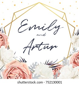 Vector floral wedding invite card design with Flower Bouquet of Peach, white Rose Peony, dusty miller leaves & golden geometrical frame. Elegant, tender cute anniversary template. Copy space