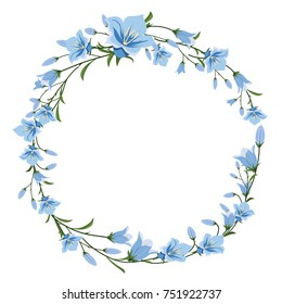 Vector floral wreath of blue flowers. Flower frame for greetings, invitations, design of wedding cards.
