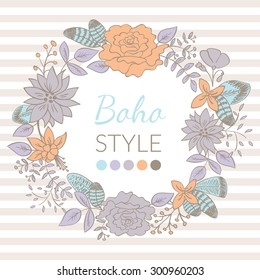 Vector Floral Wreath Card. Boho design with doodle hand drawn flowers frame. Also can be used as wedding invitation and save the date card