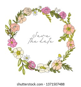 Vector floral wreath, oneline drawinf style, continuous drawing