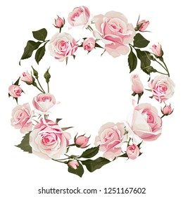 Vector floral wreath with roses. Flowered frame with pink flowers for wedding day or st. valentines day
