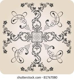 vector florel calligraphic elements. vintage decor