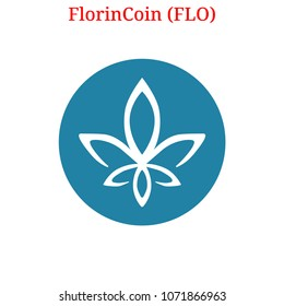 Vector FlorinCoin (FLO) digital cryptocurrency logo. FlorinCoin (FLO) icon. Vector illustration isolated on white background.