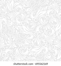 Vector Flourish Seamless Pattern. Ornate curly endless illustration on light background. Can be used for wallpaper, website header, textile, greeting cards, wedding invitation, wrapping, book, print