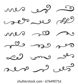 Vector flourishes, swirls, curls and scrolls  set. Calligraphic design elements. Hand drawn ink vintage decoration for wedding invitation, romantic gift card, menu.