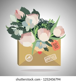 Vector flovers in an envelope on a grey background.
