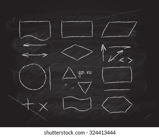 Vector flowcharts design elements on blackboard chalk texture