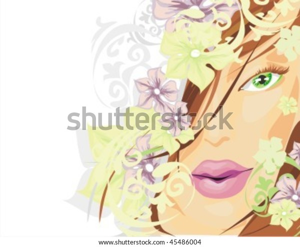 Vector Flower Background Portrait Beautiful Young