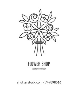 Vector flower  bouquet  icon in linear style