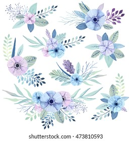 Vector flower bouquets collection. Elegant floral element set. Cute pastel plants. Watercolor effect.
