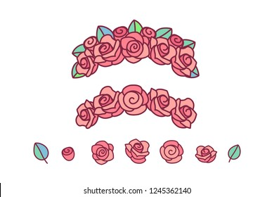 Pink Rose Cartoon Images Stock Photos Vectors Shutterstock 4,000+ vectors, stock photos & psd files. https www shutterstock com image vector vector flower crown red rose wreath 1245362140
