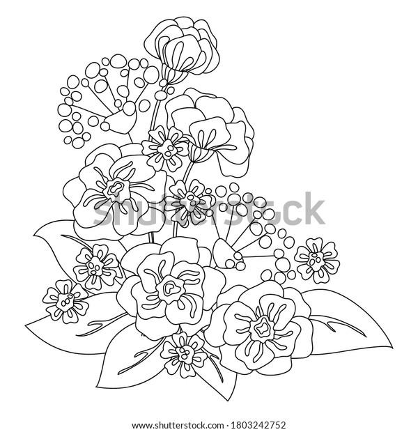 Vector Flower Daisy Poppy Bouquet Card Stock Vector Royalty Free 1803242752