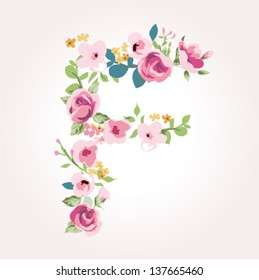 vector flower font,capital F