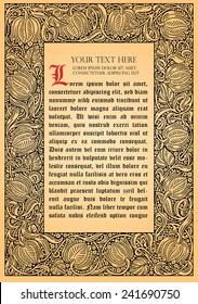 Vector flower frame. Retro, vintage, gothic style. Vintage frame with flowers , vector retro background. Flourish heraldry elements. Ornamental frame.