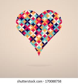 Vector flower heart illustration for Valentine's Day