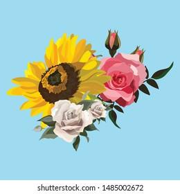 Vector flower illustration: bright yellow sunflower, roses.