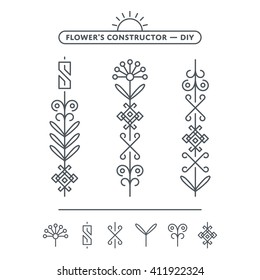 Vector Flower Illustration for Pattern with White Background