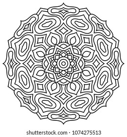 Vector flower mandala. Oriental decorative elements. Islam, Arabic, Indian motifs. Coloring book page