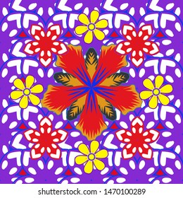 Vector flower miniprint seamless pattern in violet, red and white colors. Stylized hand drawn little flowers.