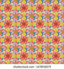 Vector flower miniprint seamless pattern in gray, orange and pink colors. Stylized hand drawn little flowers.