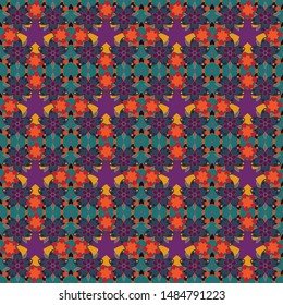 Vector flower miniprint seamless pattern in purple, red and blue colors. Stylized hand drawn little flowers.