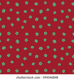 Vector flower miniprint seamless pattern in red and green colors. Stylized hand drawn little flowers.