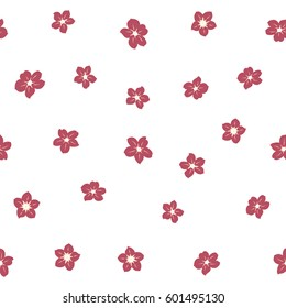 Vector flower miniprint seamless pattern in beige and pink colors on a white background. Stylized hand drawn little flowers.