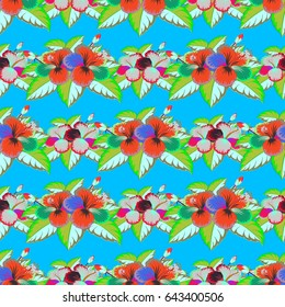 Vector flower miniprint seamless pattern in blue and green colors. Stylized hand drawn little flowers.