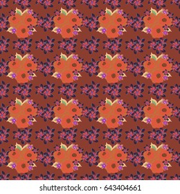 Vector flower miniprint seamless pattern in violet and pink colors. Stylized hand drawn little flowers.
