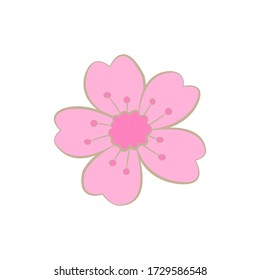 Vector flower on a white background. Delicate pink flower with 5 petals with a pink center. Forget-me-not with gold stroke. Meadow grass with heart-shaped petals, without a stem. Fairytale flower.