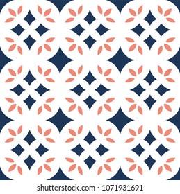 Vector Flower Ornamental Seamless Pattern. Geometric Flower Stylish Texture. Abstract Retro Tile Texture.