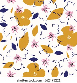 Vector flower pattern. Background with flowers.