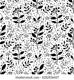 Vector flower pattern. Seamless botanic texture, detailed flowers illustrations. All elements are not cropped and hidden under mask. Floral pattern in doodle style, spring floral background.