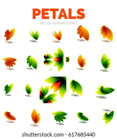 Vector flower petals and leaves, orange and green colors. Icon or elements set
